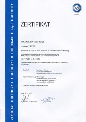 TÜV SÜD certifikat - Znalec v oblasti sanace plísní